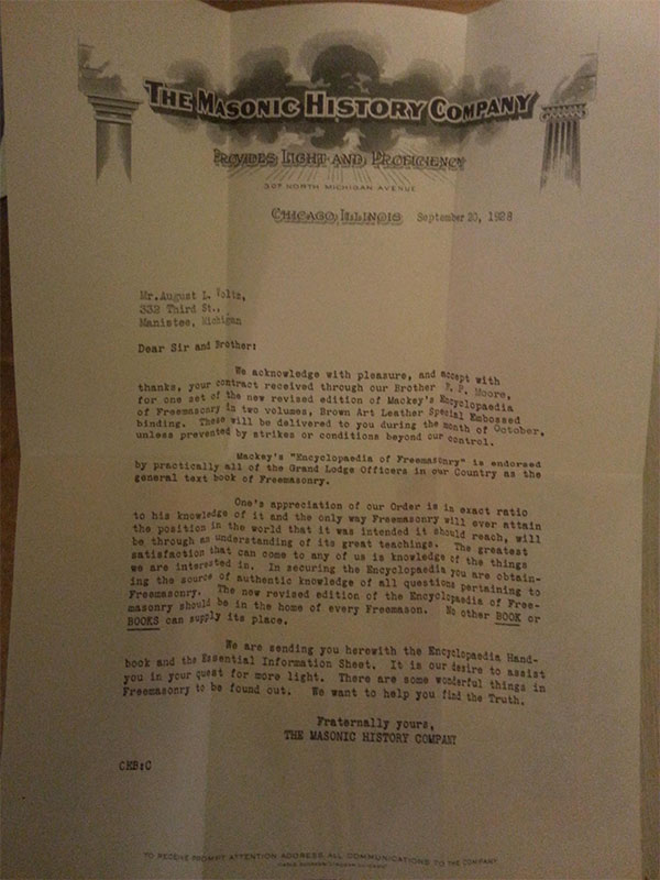 letter from the masonic history company