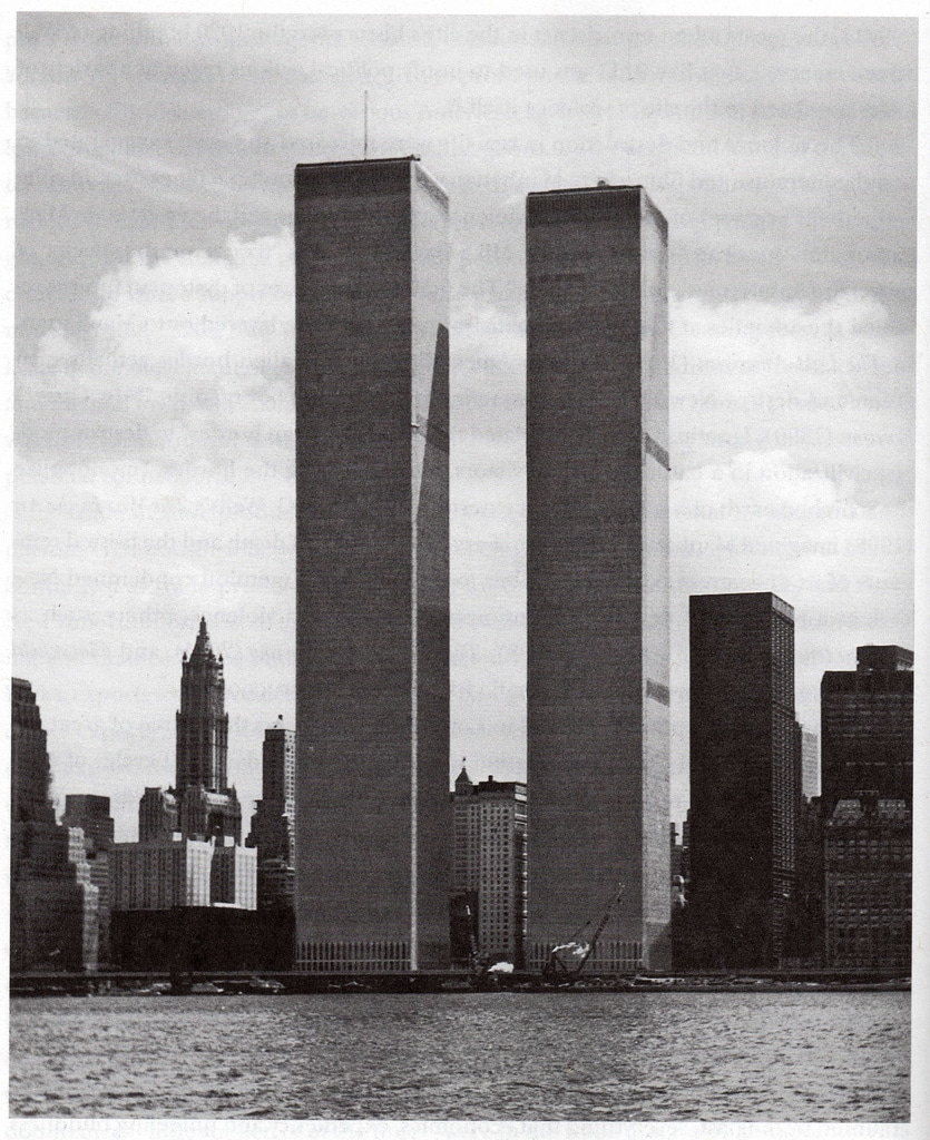 The completed Twin Towers of World Trade Center viewed from the Hudson River. July 1974.