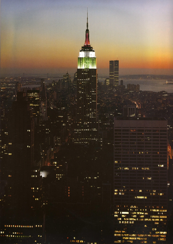 Illuminated view of the Empire State Building during Columbus Day. October 12, 1977.