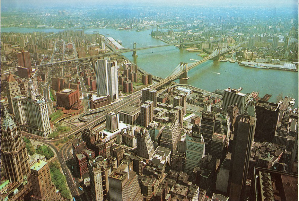 View across Lower Manhattan from the Observation Roof on the 110th floor of the South Tower of The World Trade Center. May 1976.