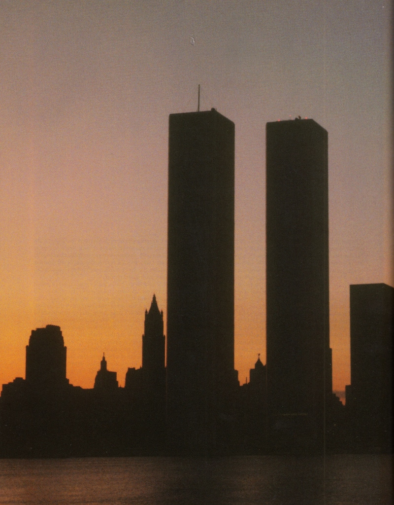 The Twin Towers viewed from The Hudson during the blackout of July 13/14 1977.