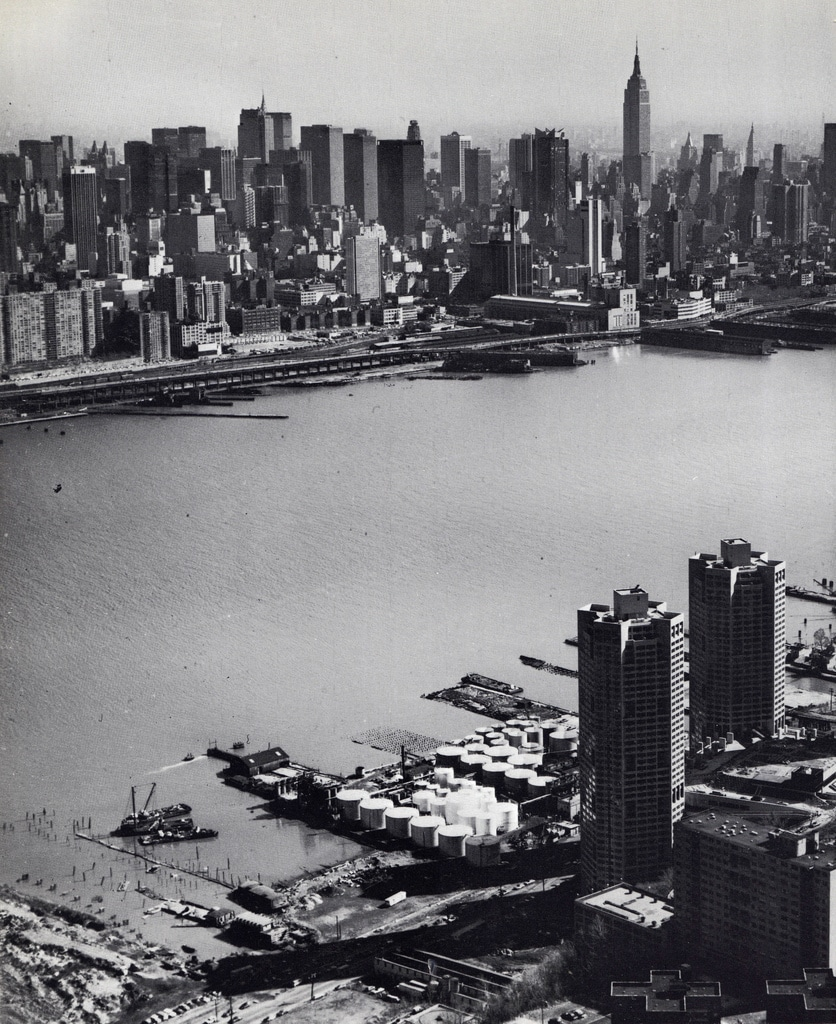 Aerial view of Midtown Manhattan looking southeast from New Jersey. March 1977.