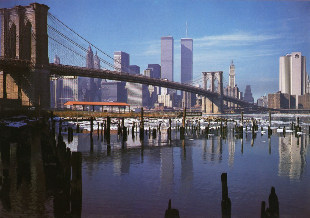 Lower Manhattan skyline and Brooklyn Bridge. January 1981.