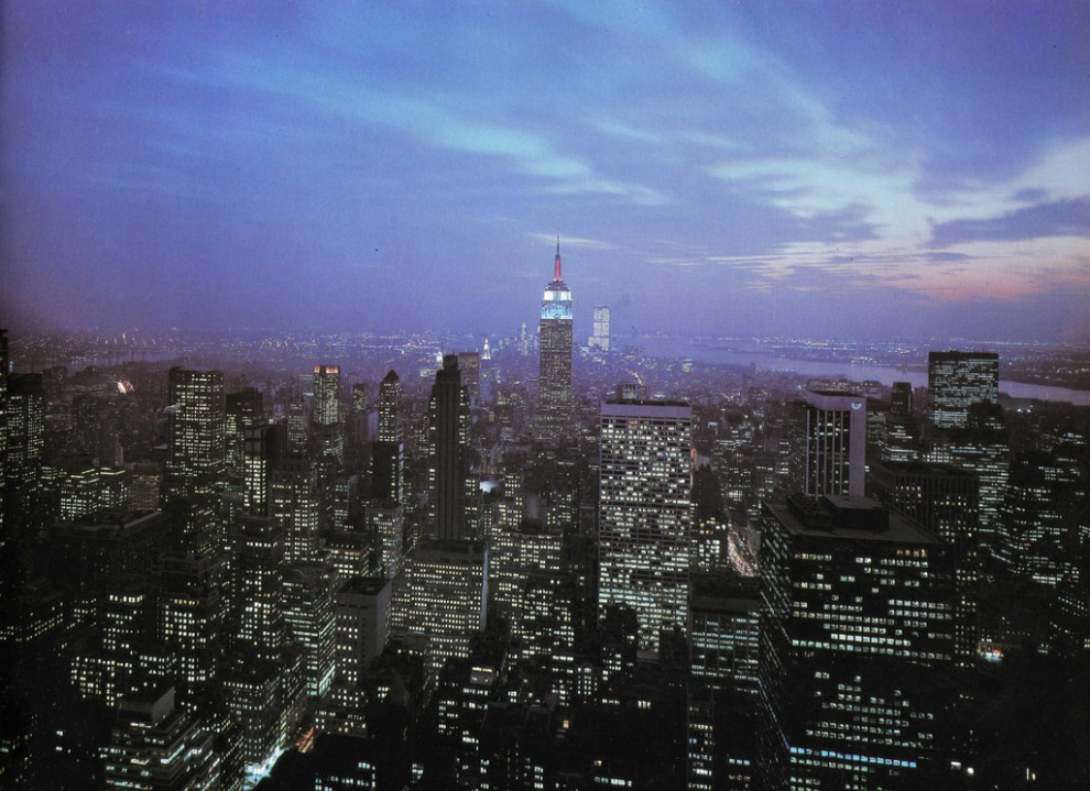 Night view Midtown Manhattan looking south from RCA Building in April 1981.
