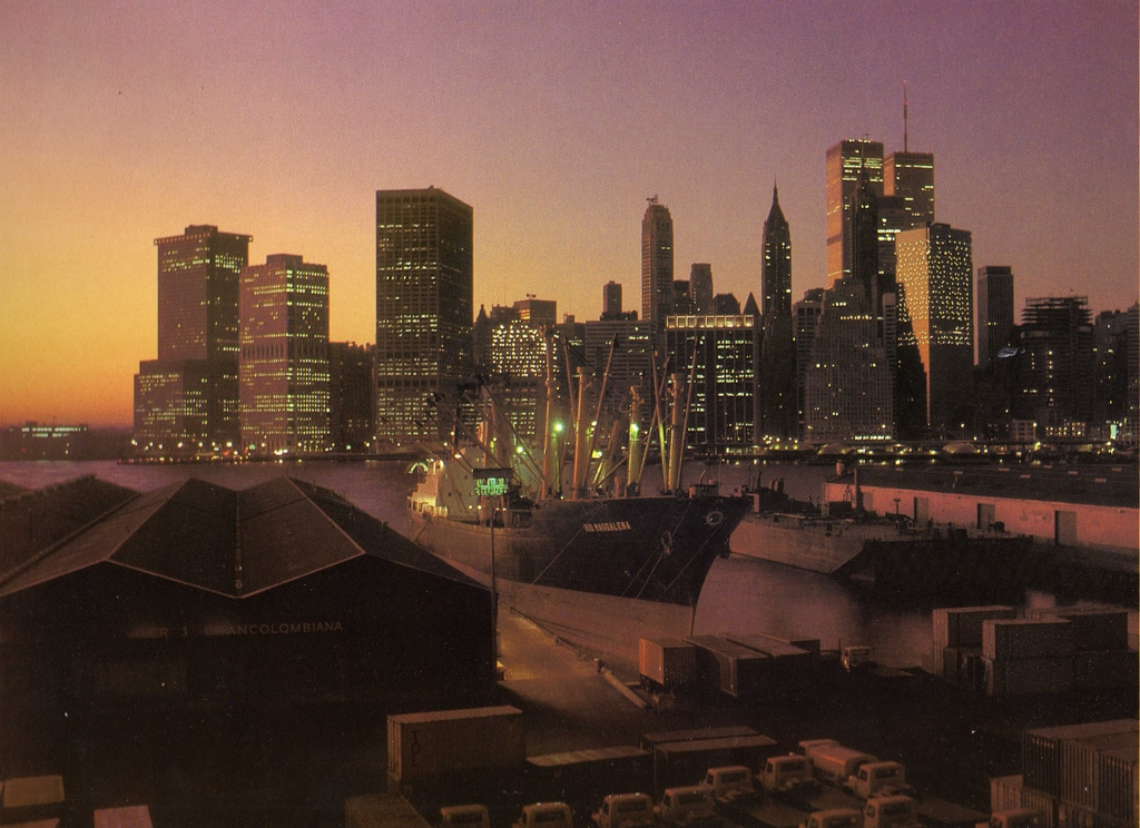 Evening panorama of the Lower Manhattan Skyline. March 1983.