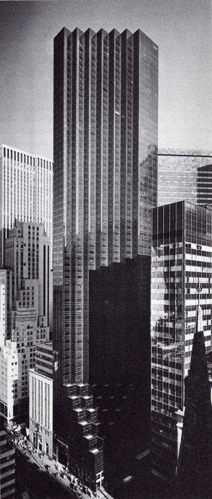 The 664ft, 58 story Trump Tower constructed in 1983, viewed looking northeast from Gotman Hotel in March 1984.