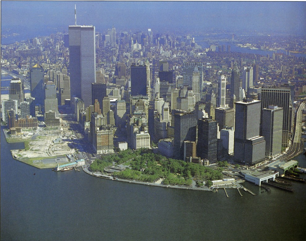 Lower Manhattan Financial District looking north in September 1985.