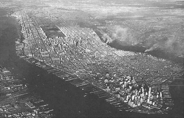 Manhattan from the air, 1949.