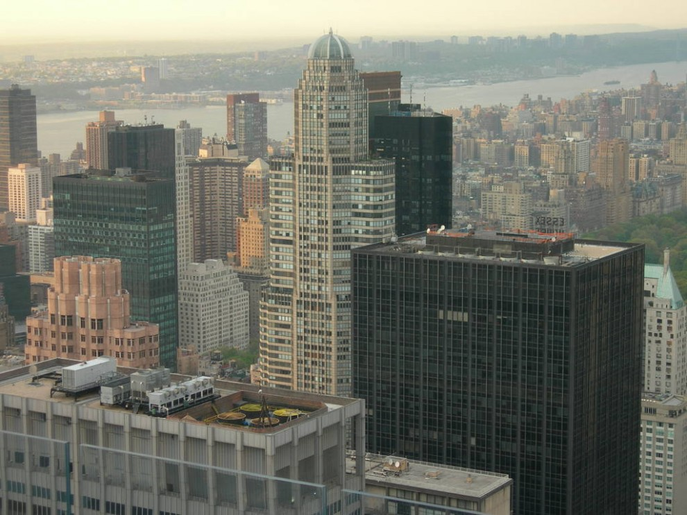 In 1987 construction of the Cityspire Center (below, center) was completed in Midtown Manhattan.