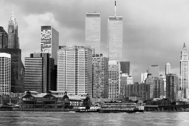 Lower Manhattan skyline with World Trade Center. 1994.