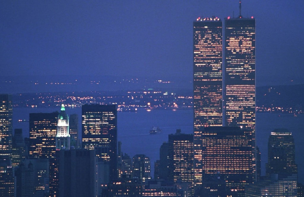 Night view of Twin Towers from Empire State Building. May 2001.