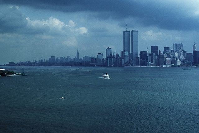 Manhattan skyline from the observation deck of the statue of liberty. August 1986.