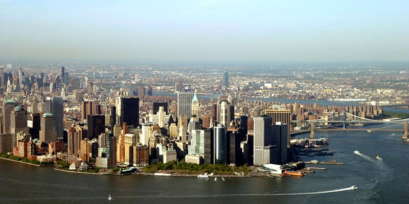 Aerial view of lower Manhattan skyline. 2005.