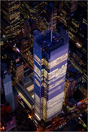 Completed in 2007, the New York Times Building stands at 1,046ft (319m) and looms large over the skyline of midtown Manhattan.