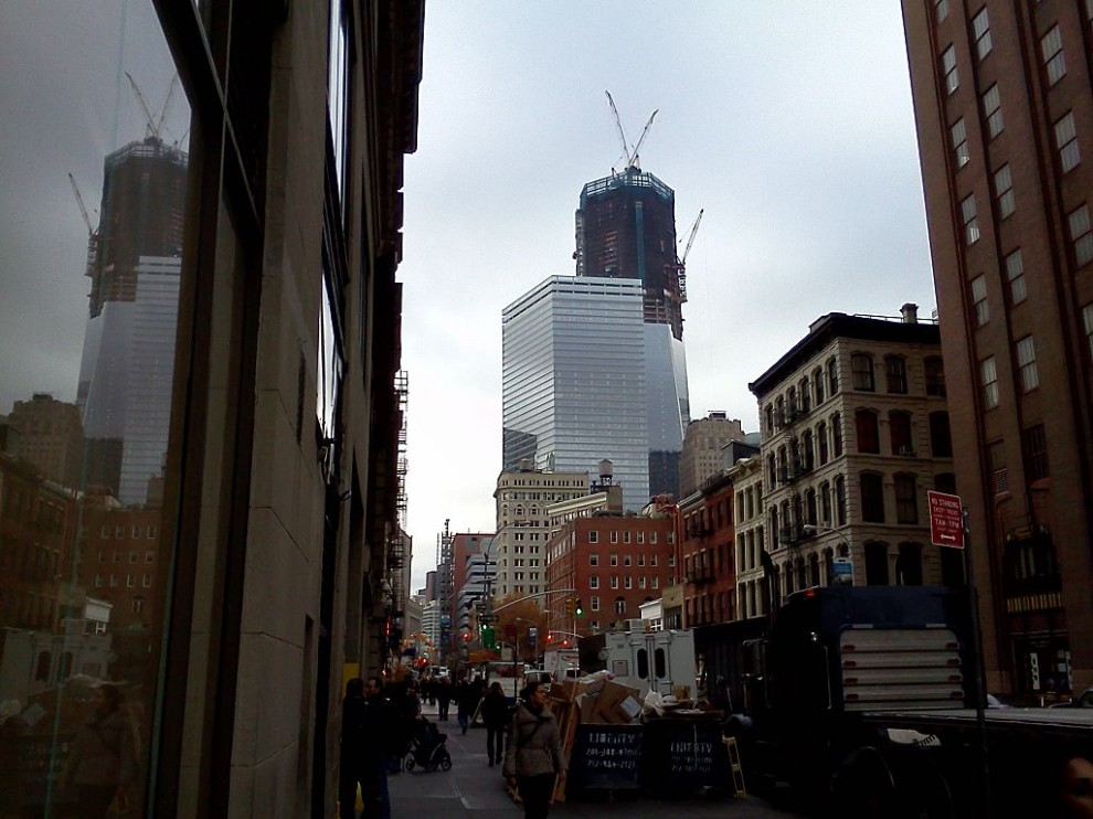 Construction of the new One World Trade Center continues. November 15th 2011.