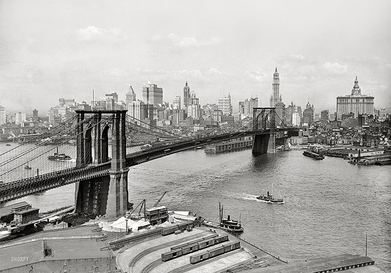 Brooklyn Bridge, East River and Lower Manhattan skyline (c 1915)