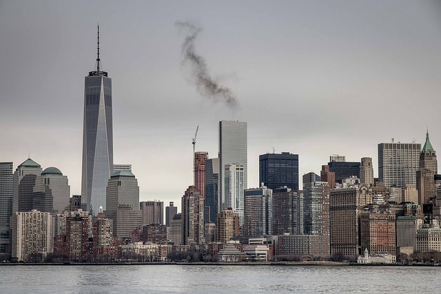 Manhattan skyline and One World Trade Center from Miss New York ferry. January 21st 2015.