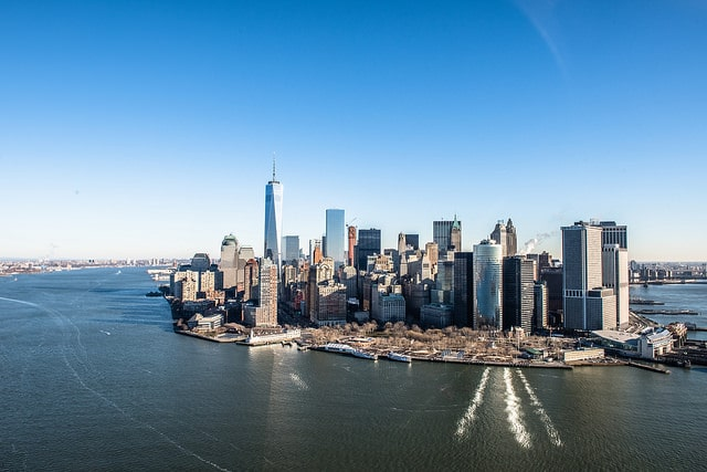 Manhattan skyline from helicopter. January 17th 2015.