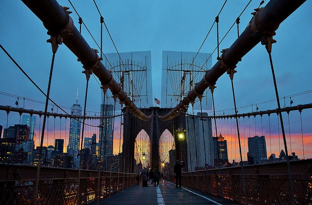 A walk across the Brooklyn Bridge on the 4th of January 2015.