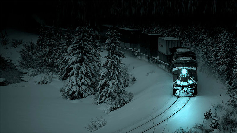 train on a snowy winter's night
