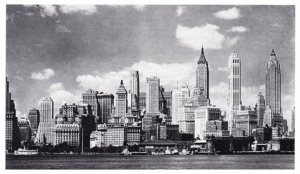 Lower Manhattan, looking North from Governors Island (1936)