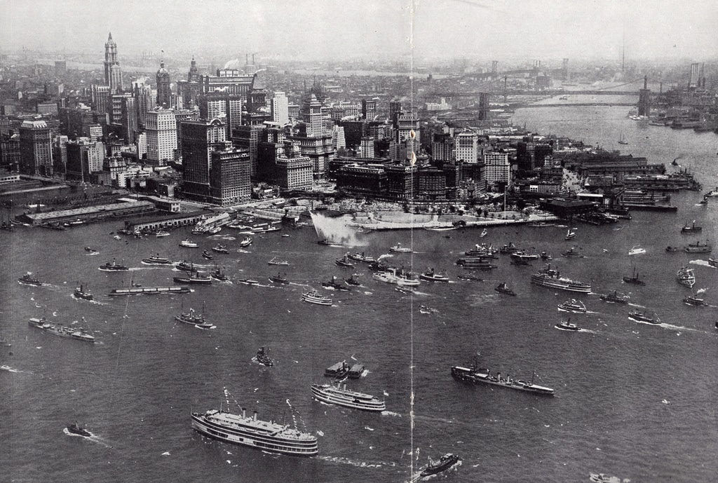 Lower Manhattan looking northeast from the Bay. July 1927.