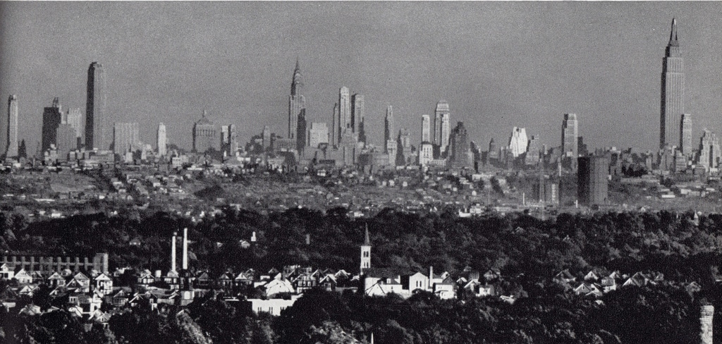 Wide shot of the Manhattan skyline viewed from New Jersey in 1943.