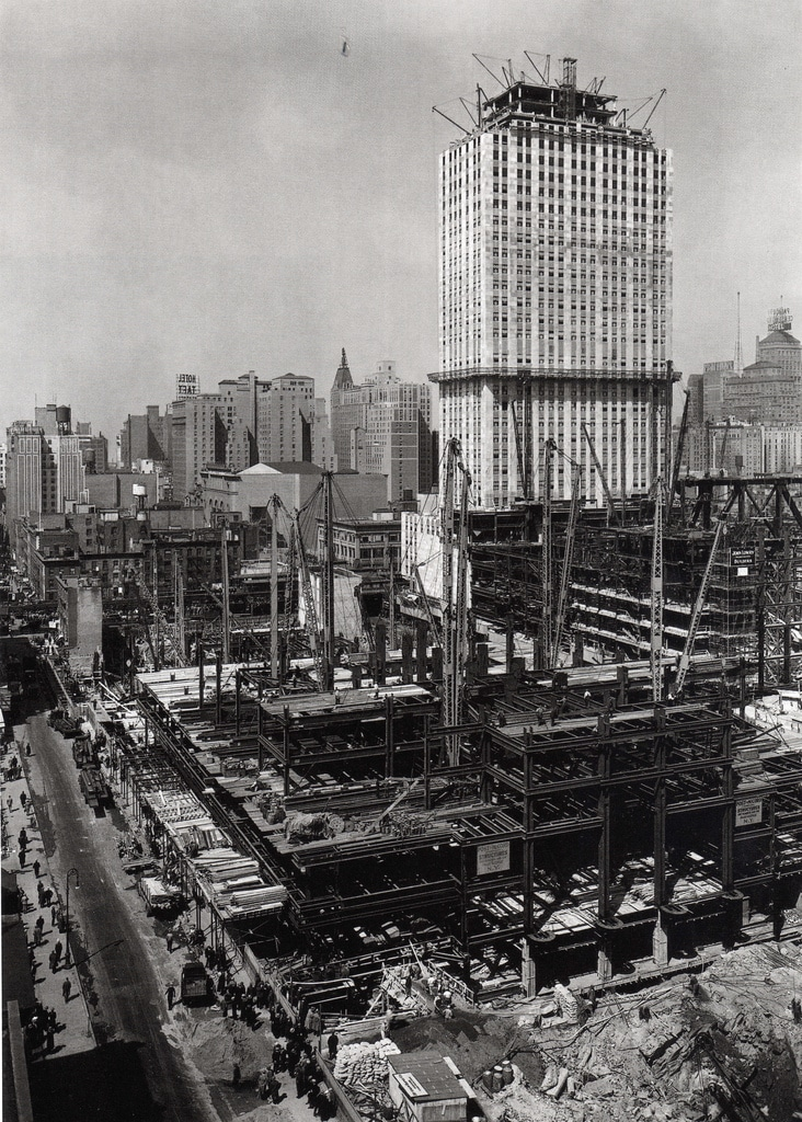 Construction of the Rockefeller Center. March, 1932.