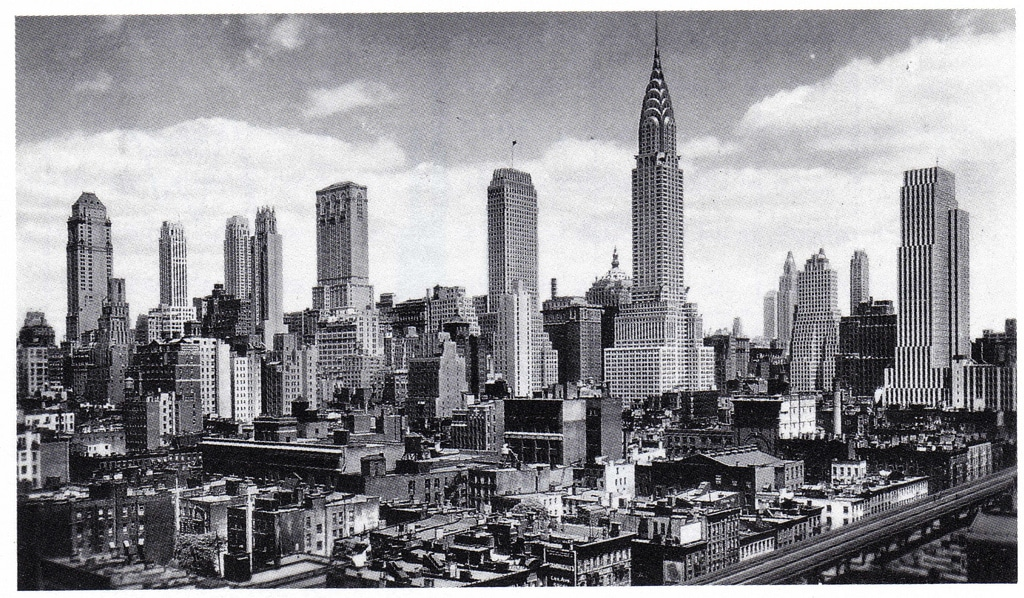 Midtown Manhattan's Grand Central District skyscrapers looking northwest from First Avenue and 34th Street. April 1932.