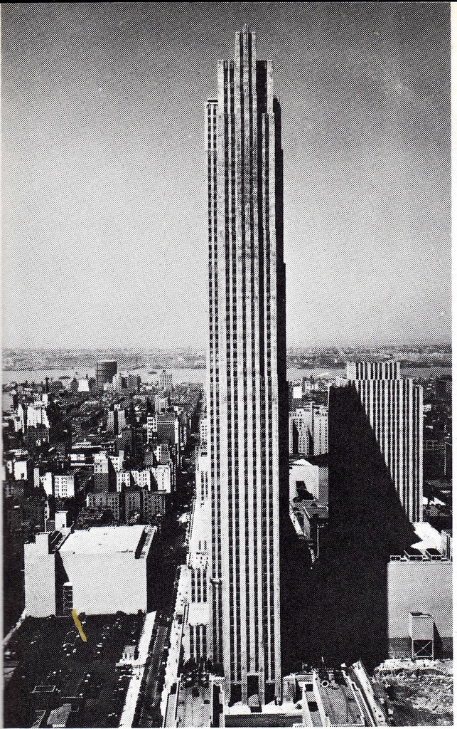 The completed RCA Building towering over midtown Manhattan in September 1933.