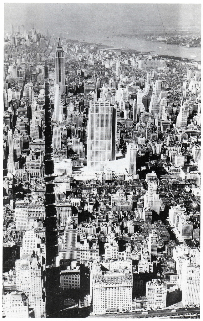 Aerial view of Midtown Manhattan looking south, showing Rockefeller Center's impact. July 1933.