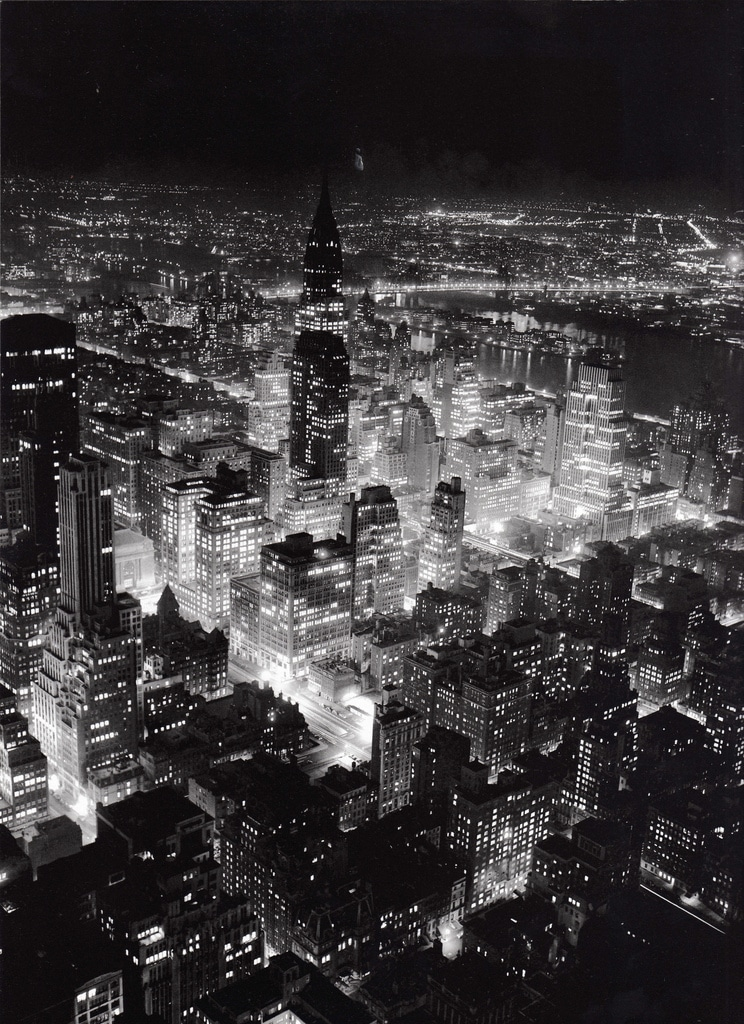 Midtown Manhattan looking northeast from Empire State Building at night. June 1944.
