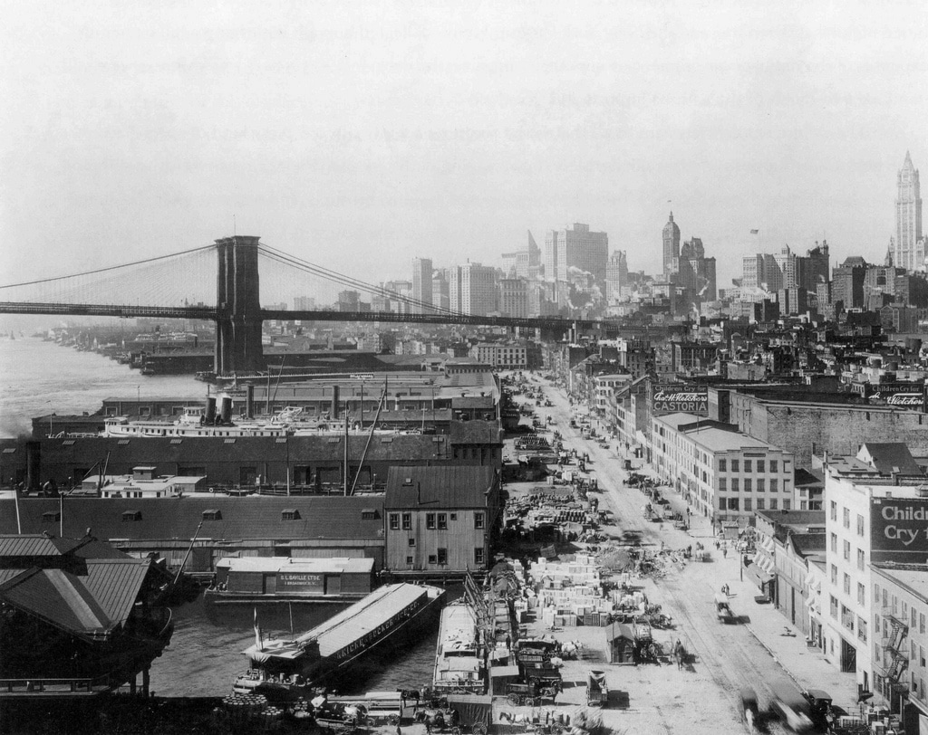 View of the Lower Manhattan skyline looking South West across the Brooklyn Bridge (1924).