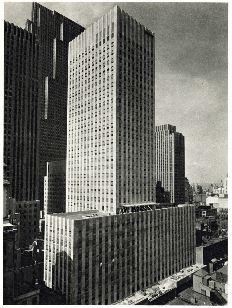 The new 32-story Esso Building in the Rockefeller Center. July 1947.