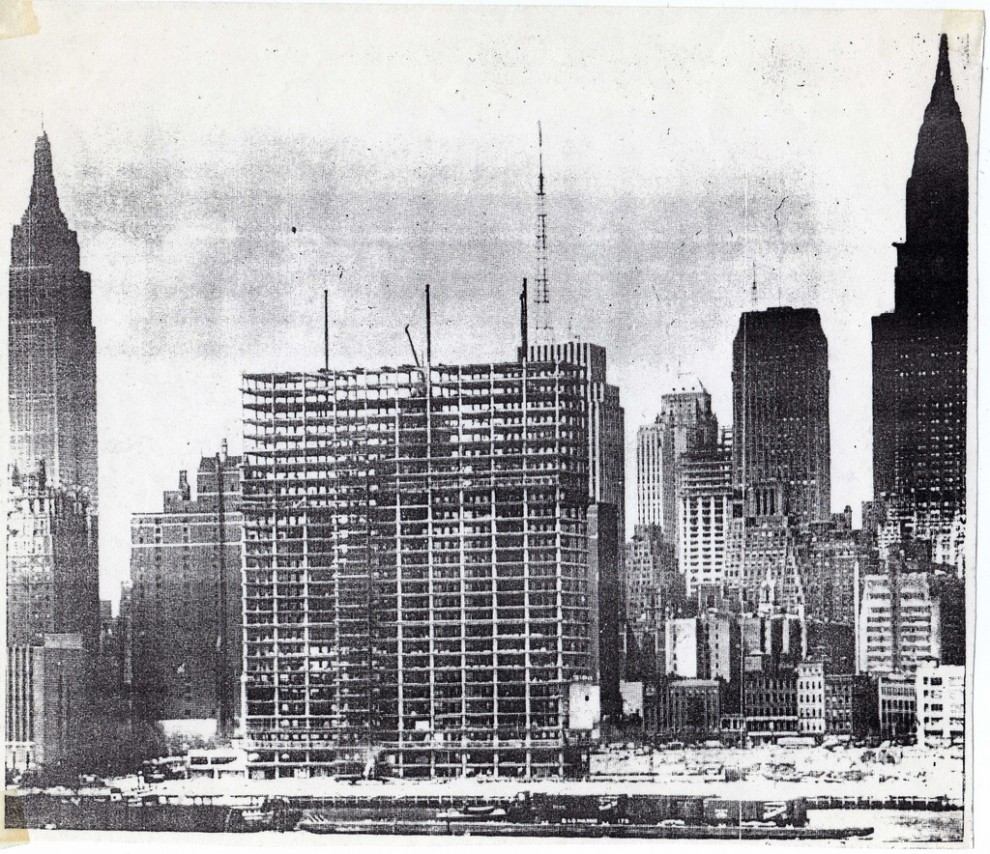 Construction of the UN's Secretariat Building in June 1949.
