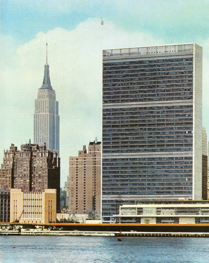 The completed UN Secretariat Building and the Empire State Building. 1951.