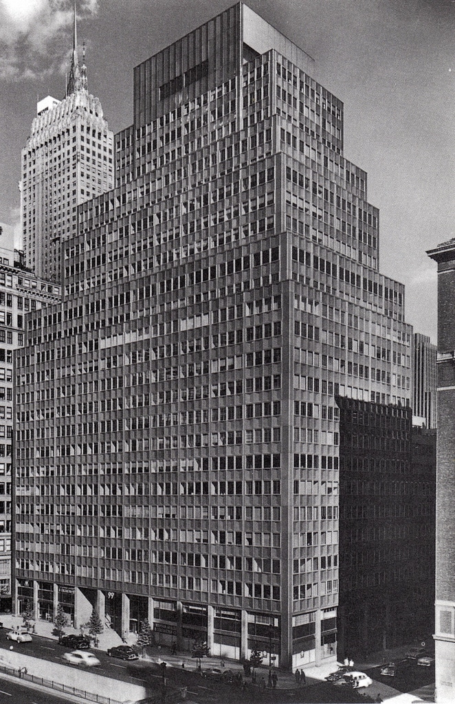 The 99 Park Avenue Building, opened in 1954 was New York's first aluminium skyscraper.