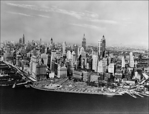 Lower Manhattan skyline, 1955.
