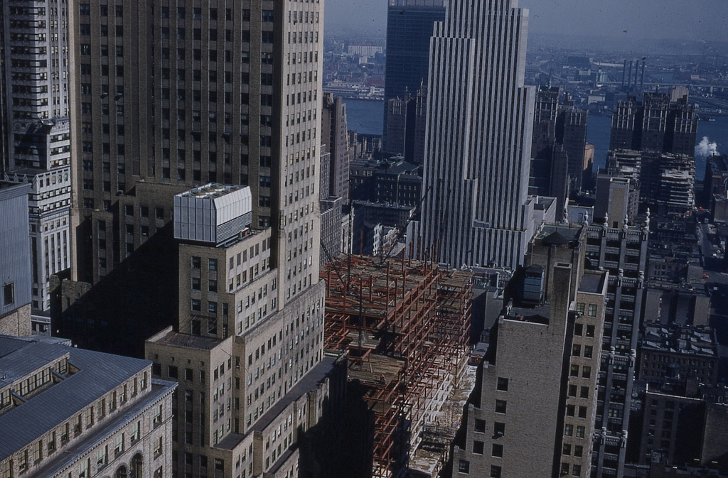 Construction work on the Socony-Mobil Building, March 1955.