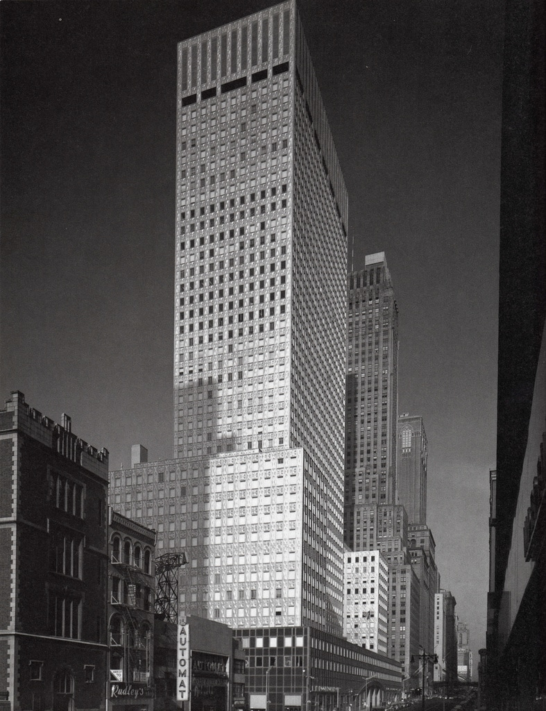 The completed Socony-Mobil Building in July 1956.