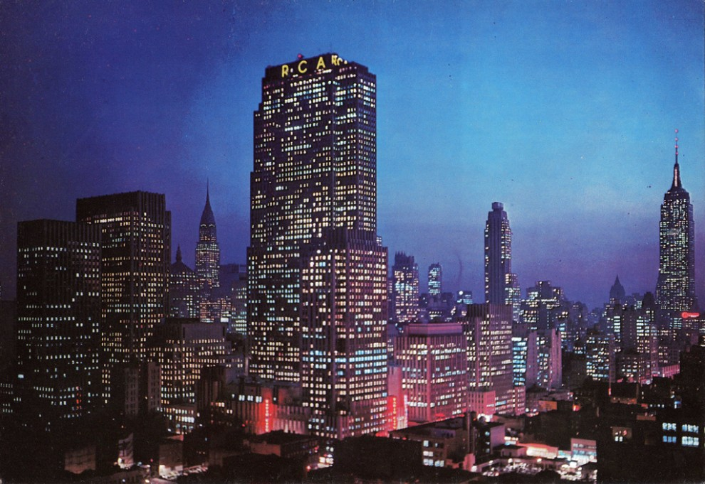 Night view of Rockefeller Center looking southeast. June 1956.