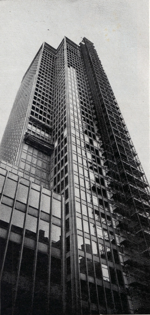 Construction work on the Seagram Building. March, 1957.