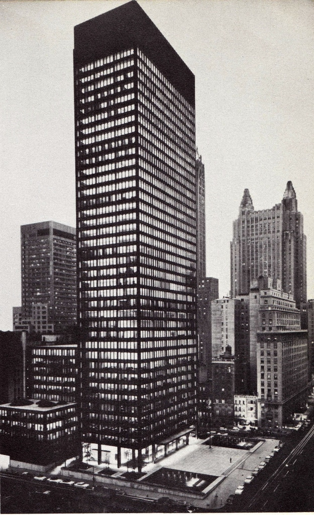 Night view of the completed Seagram building, June 1958.