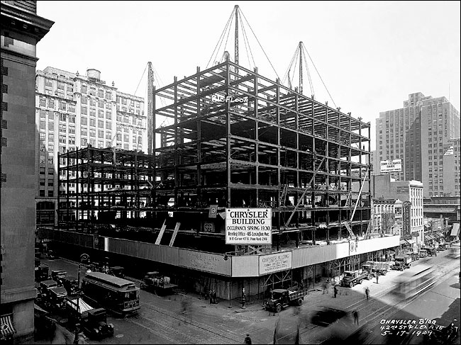 Construction begins on the Chrysler Building (1928).