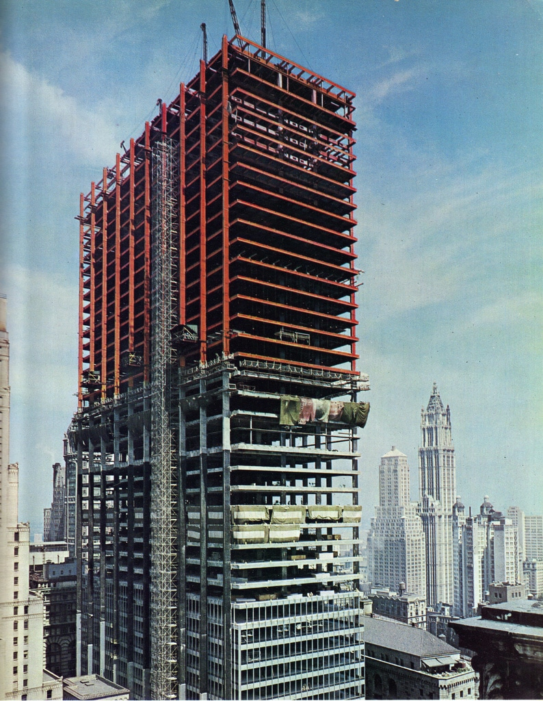 Construction of the 64-story Chase Manhattan Building, July 1959
