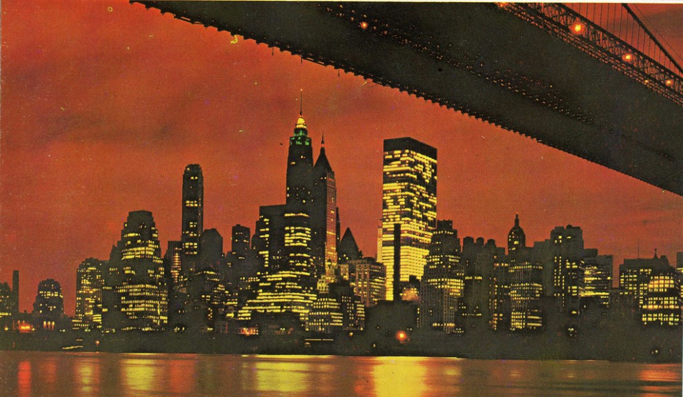 Night view of Lower Manhattan skyline with the Chase tower full illuminated. 1962.