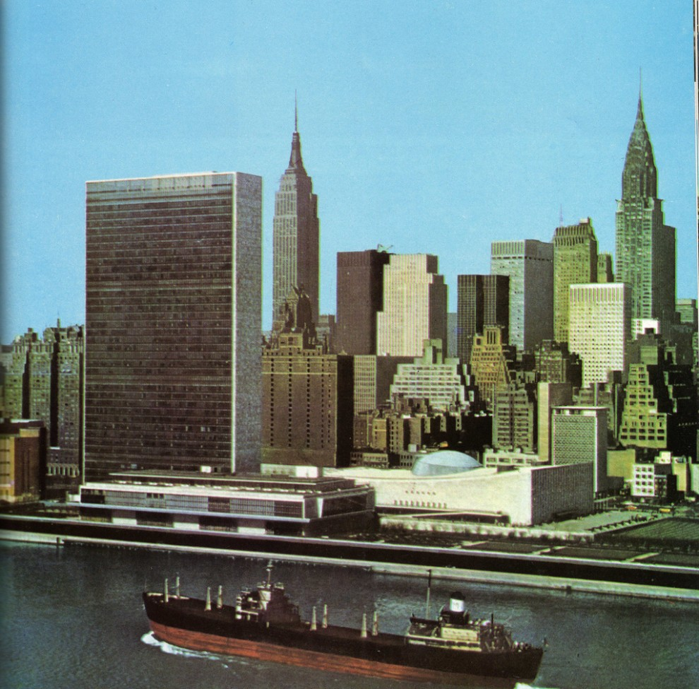 Aerial view of new face of Midtown Manhattan skyline looking southwest from East River showing United Nations. May 1961
