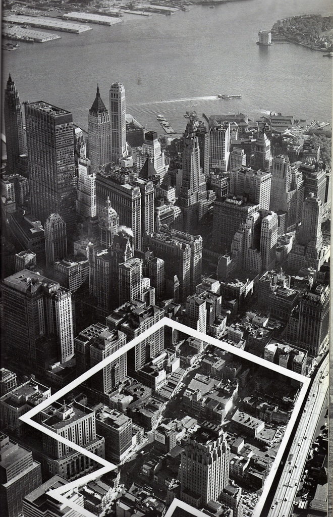 Aerial view of Lower Manhattan Financial District looking southeast showing the definitive site for the new World Trade Center. October 1962