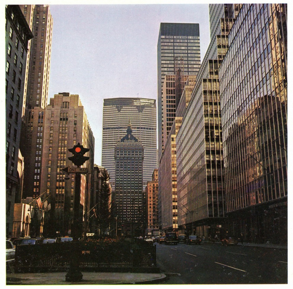 View from 52nd Street looking south with the 59-story Pan Am Building near completion. October 1962.