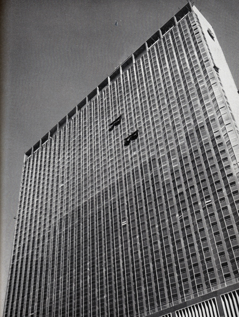 The New York Hilton nears completion in March 1963.